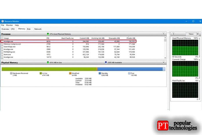 в отличие от диспетчера задач, Rources Monitor предоставляет