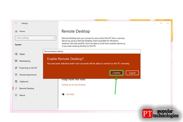 Чтобы включить RDP вWindows10