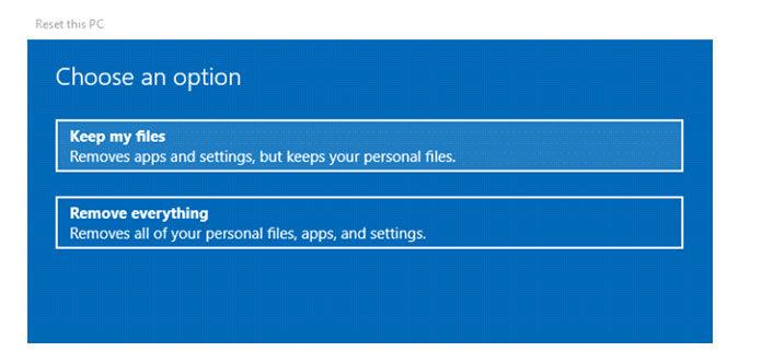 Наэтом этапе вас спрашивают, хотители высохранить свои файлы или удалить все