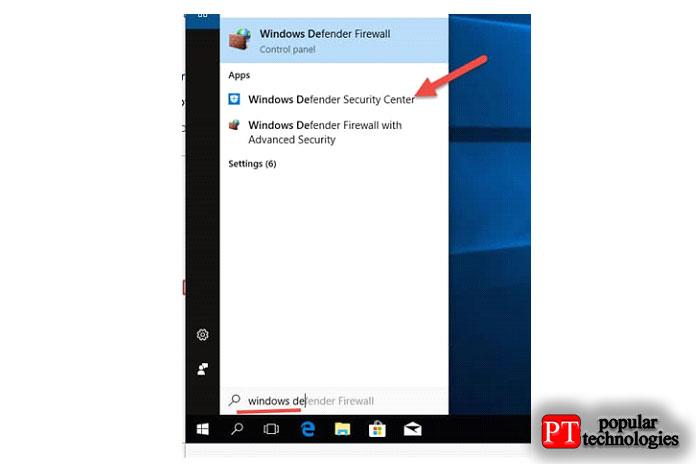 Найдите Защитник Windows и откройте