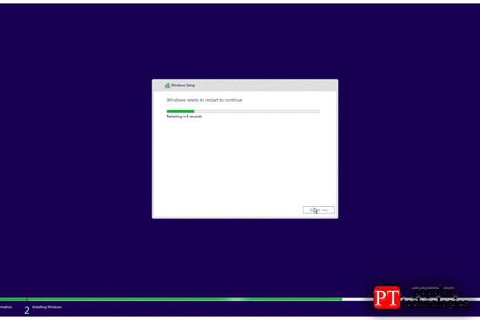 После завершения установки Windows автоматически перезагрузит ваш компьютер