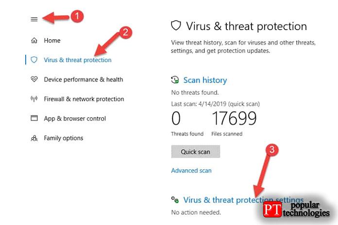 Разверните меню инажмите «Защита отвирусов иугроз»