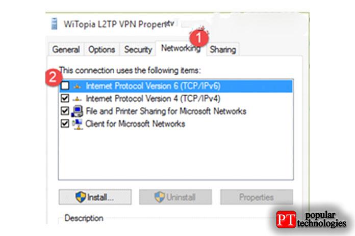 Щелкните вкладку «Сеть» иудалите версию IPv6, как показано ниже