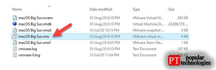 Теперь откройте файл VMX изизвлеченного места
