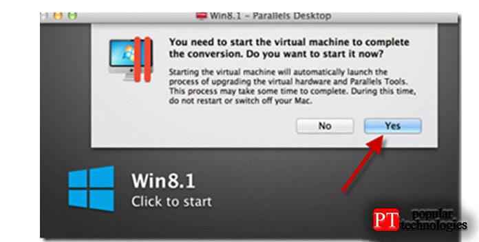 Впроцессе преобразования виртуальная машина будет включена для