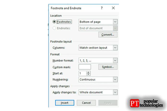 Вразделе расположения выможете определить положение сноски либо под текстом