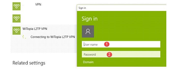 Вам необходимо ввести имя пользователя ипароль при попытке подключиться кVPN