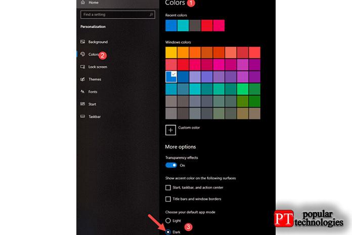 Включите темные цвета для приложений