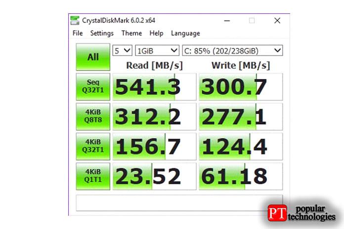 Вот результат диска C, который является SSD