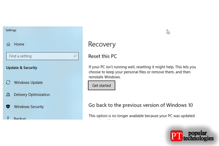 Выберите Reset this PC from Recovery