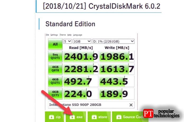 Загрузите стандарт CrystalDisk Mark софициального сайта