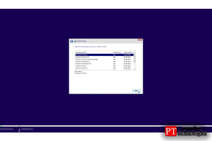 Затем Windows предоставит вам список версий Windows навыбор