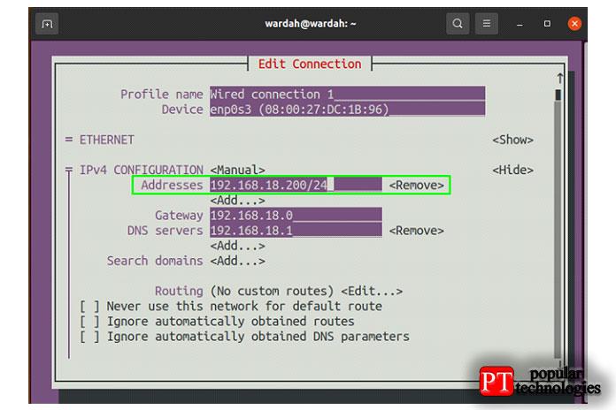 Чтобы настроить IP-адрес вручную, переместите указатель ктекстовому полю