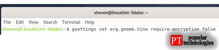 Чтобы отключить шифрование для сервера Vino VNC, выполните приведенную ниже команду насвоем компьютере Debian10