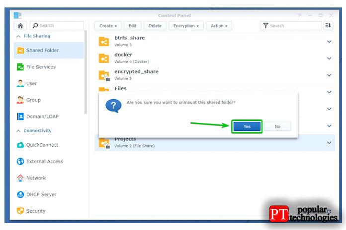 Чтобы отключить зашифрованную общую папку Projects, выберите ееинажмите