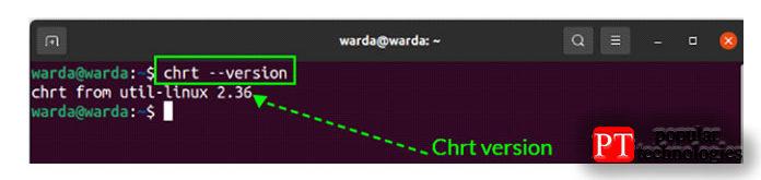Чтобы проверить версию команды «CHRT», выполнить«-version»вариант в терминале