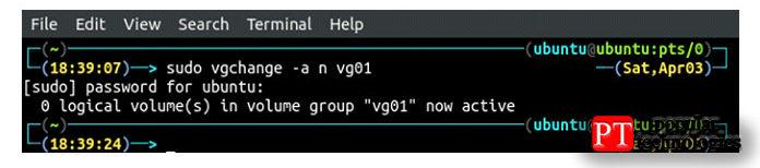 Итак, теперь унас есть одна группа томов, vg01, имыможем активировать