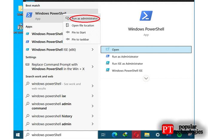 Нажмите кнопку «Пуск» ивыполните поиск «Windows PowerShell»