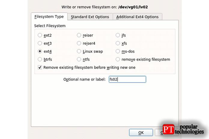 Онзапросит подтверждение, азатем создаст файловую систему после ввода формата файловой системы