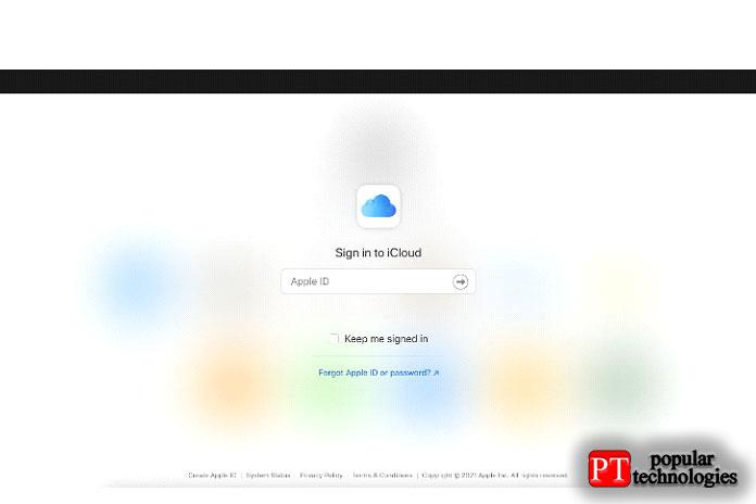 Откройте браузер насвоемПК, перейдите наcomи войдите всистему сосвоим Apple ID
