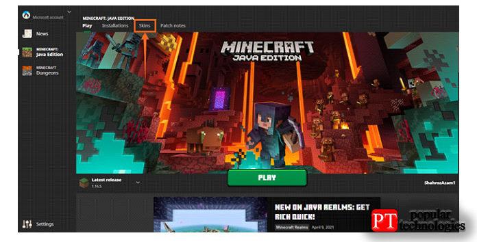Откройте программу запуска Minecraft, нажмите на опцию