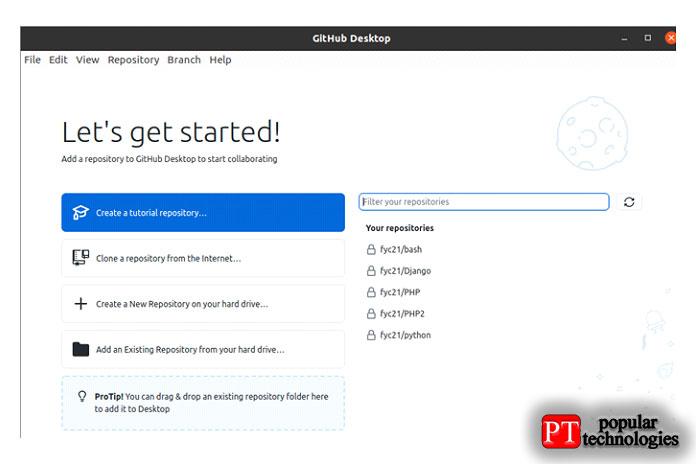 Откройте рабочий стол GitHub ивыберите опцию