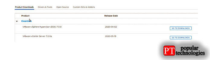 Перейдите наофициальный веб-сайт VMware