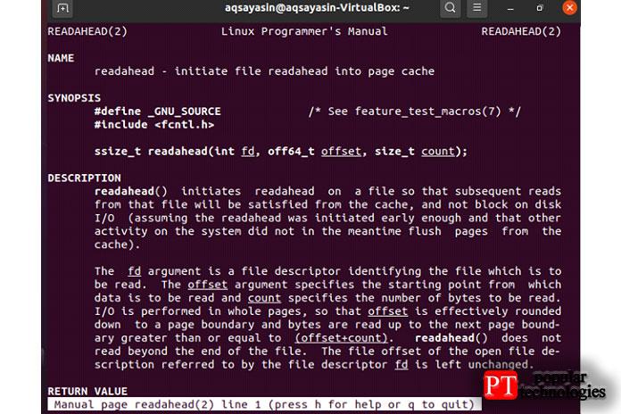 После этого откроется экран, показывающий синтаксис иданные осистемном вызове readahead