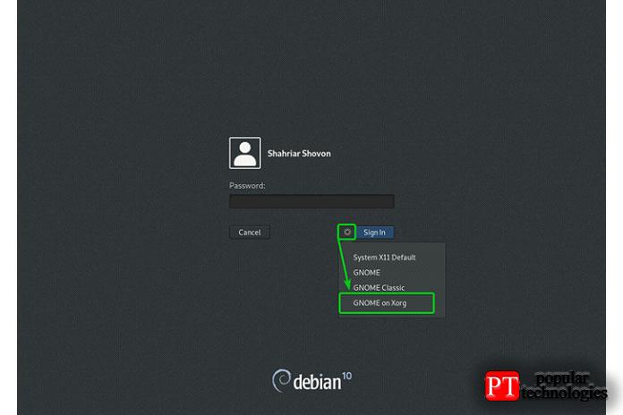 После настройки сервера отображения X11 войдите всреду рабочего стола GNOME 3