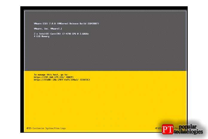 После успешной перезагрузки отобразится IP-адрес консоли