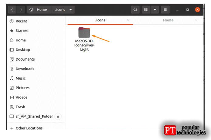 Скопируйте извлеченную папку снабором иконок впапку