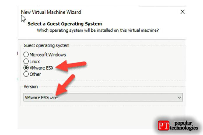 Создайте новую виртуальную машину вVMware