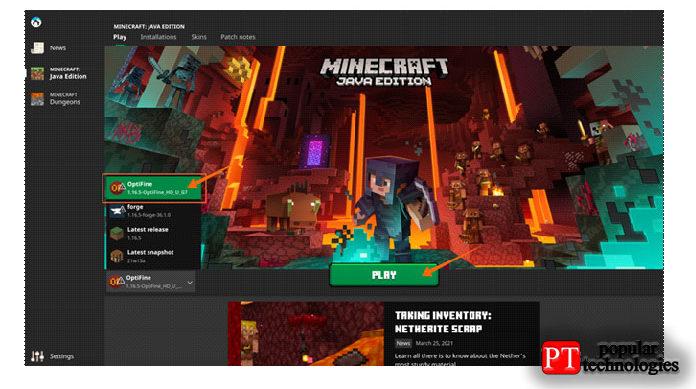 Теперь откройте установщик Minecraft, выберите