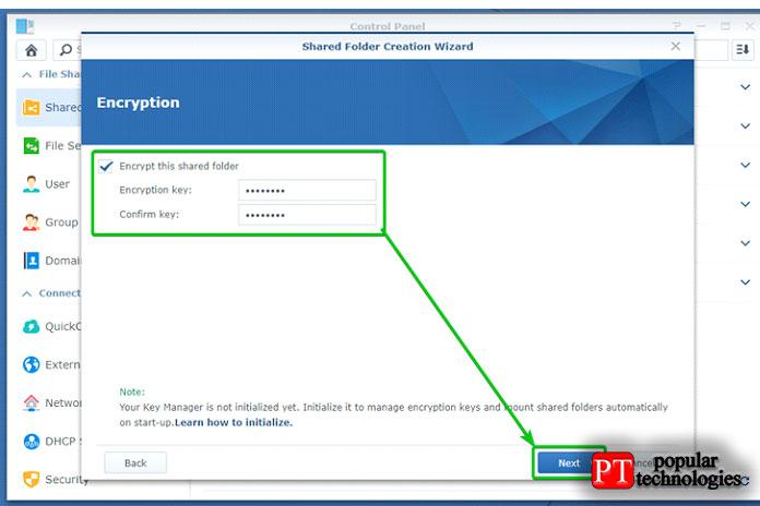 Теперь введите ключ шифрования или пароль инажмите Далее