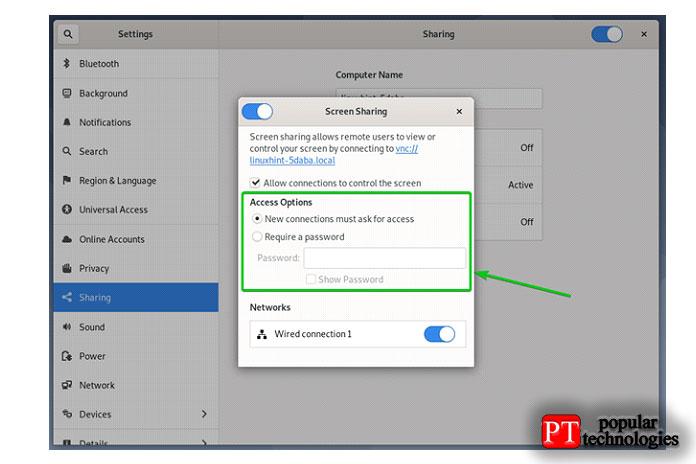 Требовать пароль вэтом методе выможете установить пароль для сервера VNC
