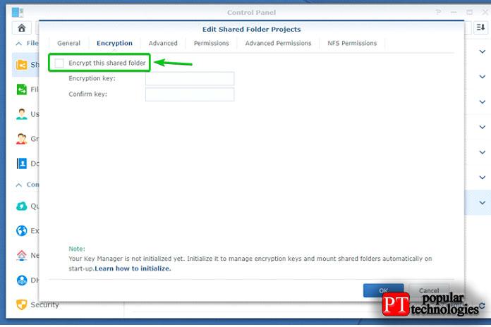 Установите флажок Зашифровать эту общую папку как показано на снимке экрана ниже