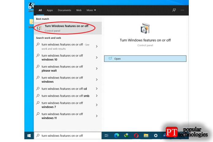 Во-первых, нажмите кнопку «Пуск» ивыполните поиск позапросу «Включение или отключение компонентов Windows»