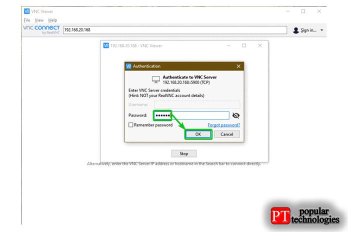 Введите пароль аутентификации вашего VNC-сервера инажмитеOK
