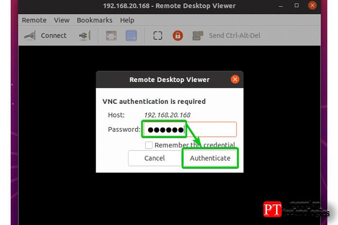 Введите свой пароль аутентификации VNC инажмите Аутентифицировать