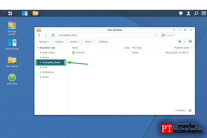 Выможете получить доступ кподключенным зашифрованным общим папкам изприложения File Station