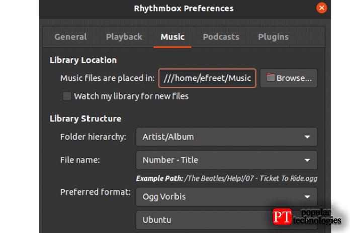 Выможете установить собственный адрес для своих музыкальных файлов