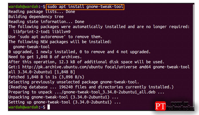 Загрузите Gnome Tweak Tool спомощью команды