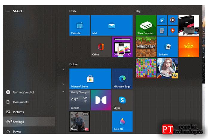 Загрузите настройки Windows