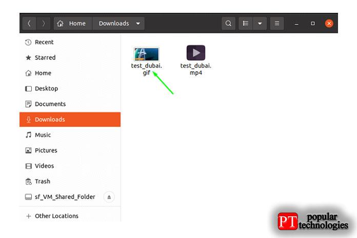 Закройте приложение иперейдите вкаталог, вкотором высохранили файл GIF