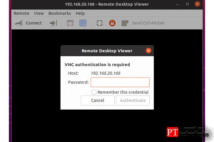 Затем вам будет предложено ввести пароль VNC, если вынастроили аутентификацию попаролю, какя
