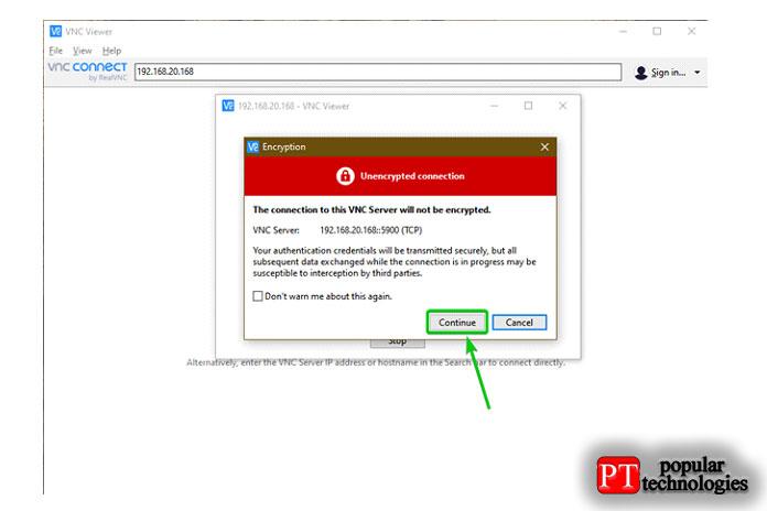 Затем вам будет предложено ввести пароль VNC, если