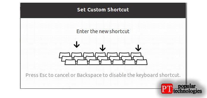 иназначьте сочетание клавиш, удерживая клавиши повашему выбору