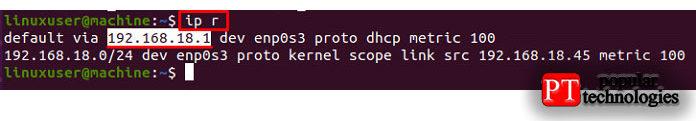 Чтобы получить IP-адрес шлюза поумолчанию, используйте команду «ipr»