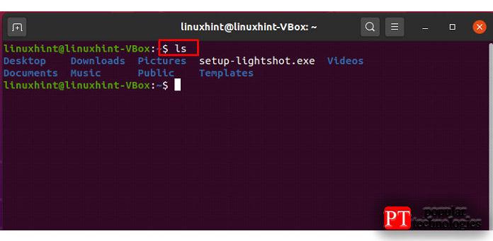 Команда «ls» отображает содержимое папок ифайлов текущего каталога после еевыполнения