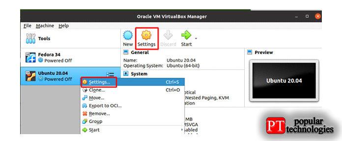 Налевой панели главного окна VirtualBox выберите виртуальную машину изсписка